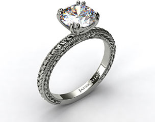 14K White Gold Etched Rope Solitaire